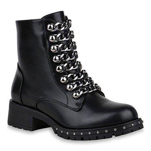 Stiefelparadies Damen Schuhe Biker Boots Leicht Gefütterte Stiefeletten Ketten Nieten 153163 Schwarz 38 Flandell