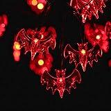 RECSKY Rojo Murciélago Luces de cadena - 20 LED 2.5m Guirnaldas Luminosas de halloween - luces de batería para Luces de Halloween, Fiesta de Halloween, Decoraciones de Halloween, iluminación de Halloween, Interior, Casa, Dormitorio