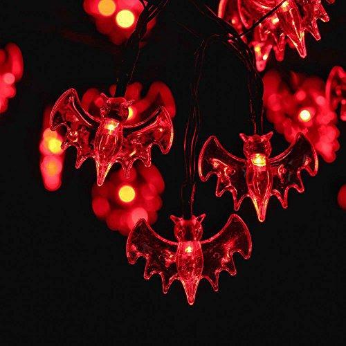 Leuchtet Spinnennetz Halloween (RECESKY Rot Fledermaus Lichterketten - 20 LED 2.5m Batteriebetriebenes Halloween Lichterketten - für Halloween lichter, Halloween Party Dekor, Halloween Dekoration, Halloween Beleuchtung, Innen, Feiertag,)
