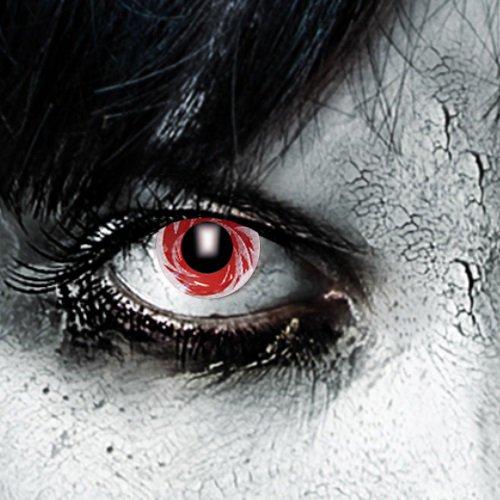 Funlinsen 3-Monatslinsen White Tornado Zombie Halloween Fastnacht Fasching Party (Tornado Halloween Kostüme)