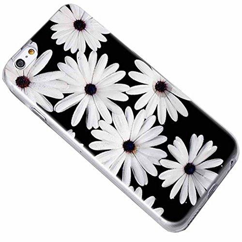Easbuy Blume Flower Handy Hülle Soft Silikon Case Etui Tasche für iPhone 7 Plus Smartphone Cover Handytasche Handyhülle Schutzhülle Blumen 9