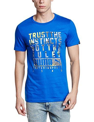 Puma Men's Round Neck Cotton T-Shirt (4056207129972_59146013_X-Large_Puma Royal)