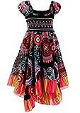 Neu602vDa Mädchen Kinder Sommer Freizeit Kleid (146/152, Schwarz)