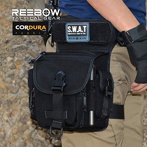 Reebow Gear Outdoor EDC Bauchtasche Bein Gürteltasche 1000D Cordura mit abnehmbar Schnellverschluss Schwarz