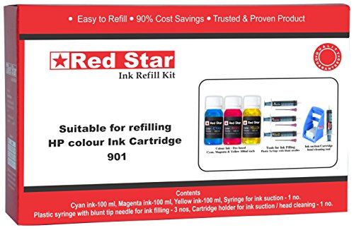 Red Star ink refill kit for HP 680 678 57 46 28 22 901 818 803 802 704 703 colour cartridge ( 3 x 100 ml colour ink, 3 syringes with blunt tip needles, cartridge head cleaning tools)  available at amazon for Rs.728