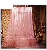 Dormitorio circular pabellón mosquitero naturals incluso chinche no me red mordida insecto repelente-rosado 200x200cm(79x79inch)