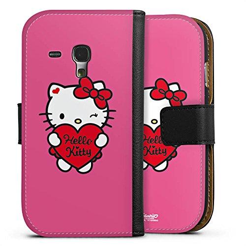 DeinDesign Tasche kompatibel mit Samsung Galaxy S3 Mini Leder Flip Case Ledertasche Hello Kitty Merchandise Fanartikel Amour