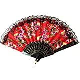AUM Lace Trim Colorful Flower Floral Pattern Hand Held Folding Plastic Japanese Silk Hand Fan (Red Black-L) Gift Fan For Girls Women Wedding Favor Theme Party Decoration Stage Shows Dance
