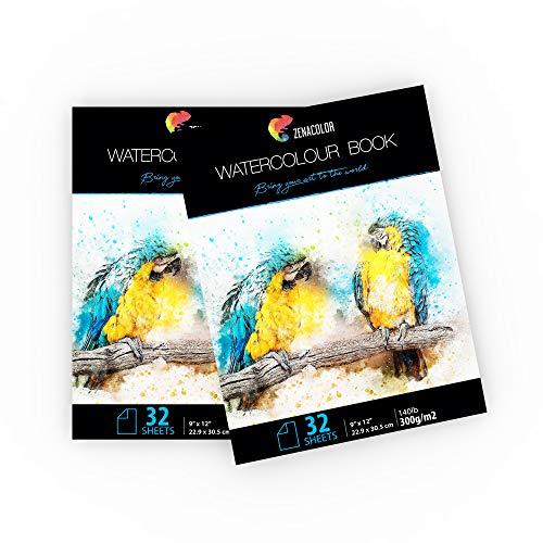 """⭐2 x Aquarellblöcke für Aquarellmalerei - A4 Format (9"""" x 12"""") - 2 x 32 Blatt naturweiß 300g - 2-er Set Malblöcke mit Zeichen- und Aquarellpapier für Künstler und Hobbybastler"""