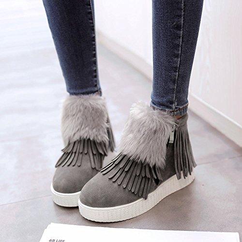 Mee Shoes Damen Quaste Reißverschluss warm gefttert Ankle