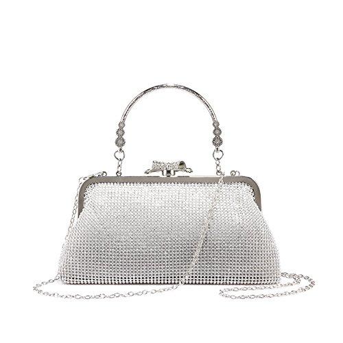 Haihuayan Handtasche Frauentasche Weibliche Abenddamen Schulter Crossbody Tasche Für Parteigeldbeutelmappen Kleine Handtasche Silber A Mini (Mesh-metallic-abendtasche)