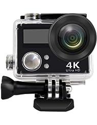powmax ww-60HD 4K WiFi deportes cámara de acción impermeable videocámara DV con pantalla LCD de 2pulgadas/2.4G mando a distancia/2baterías/cargador de escritorio, bolsa de viaje, diseño de incluyen varios accesorios prácticos