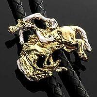 Bolo Tie occidentale Rodeo - Cowboy con cavallo - Bolotie