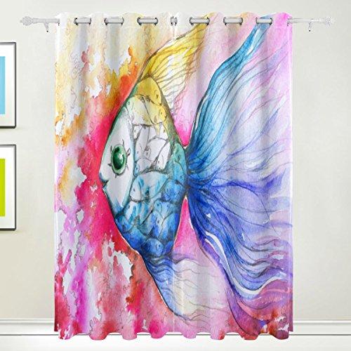 Luxus-Vorhang, 2Kammern Bunte Fische Watercolor Thermo-Drucker mit Blackout Polyester Stoff Zuhause, mit Ösen für Schlafzimmer Wohnzimmer, Badezimmer, Küche 55x 84cm