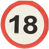 Folat 28318 Party Servietten Verkehrsschild (1 x 20 STK.)-Zahl 18
