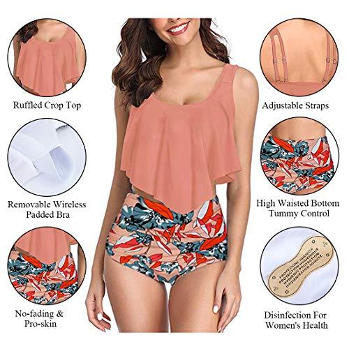 Adisputent Damen Badeanzug mit hoher Taille, Volant, Racerback, Vintage-Stil, Zweiteiliger Bikini - Orange - XX-Large - 4