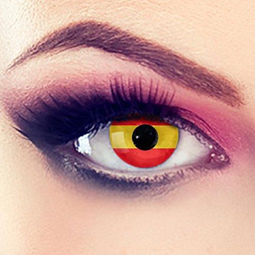 Taffstyle® Farbige Linsen Fanartikel Kontaktlinsen Fussball Weltmeisterschaft 2014 WM & EM Länder Style Jahreslinsen - Spanien
