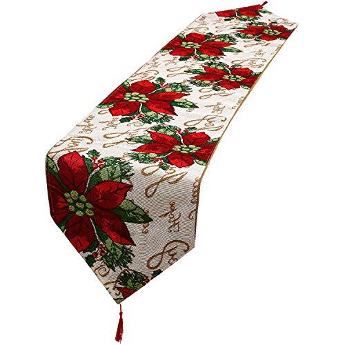 Runner da tavola di natale tovaglia decorativa in lino con nappe per decorazioni per la casa per la cena di natale (stile 3)