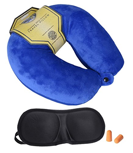 Spungee Microbeads Travel Neck Pillow with 3D Contoured Eye Shade & Ear Plugs for car, train, bus, flight