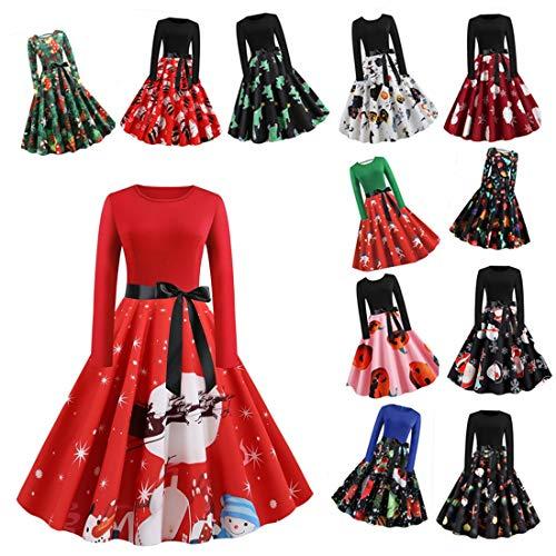 Xiangdanful Weihnachtskleid Hepburn Kleid Damen Vintage Rockabilly Kleider Schneemann Drucken Rock Xmas Swing Kleid Faltenrock Langarm Cocktailkleider Mit Gürtel Karneval Kostüm (XXL, A-Rot)