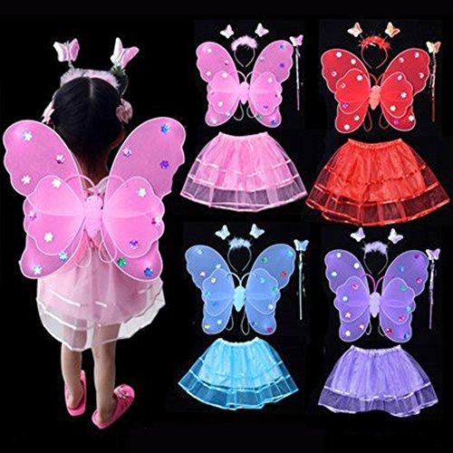 CDKJ: Diadema de Mariposa LED con luz Intermitente, Rosa, Hada, Mariposa, ala Rosa Rosa 42 * 39 * 50CM