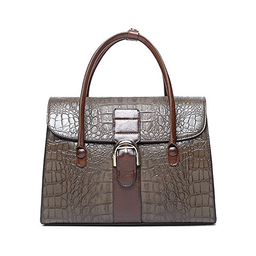 Kieuyhqk Frauen Schwarze Krokodil Tote große Kapazität Leder Schulter Crossbody Handtasche Frauen Casual Handtasche Schulter-Handtasche (Farbe : Kaffee)