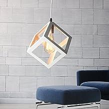 KINGSO E27 Lampe Suspensions Plafonnier Abat-jour Lustre avec Douille Applique d'Eclairage Murale Retro Industriel Blanc