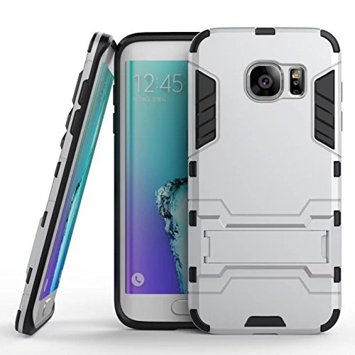 Wkae® samsung s7 edge custodia,2 in 1 nuova armour stile duro hybrid dual layer armatura defender pc duri custodie con supporto [custodia antiurto] per samsung s7 edge (silver)