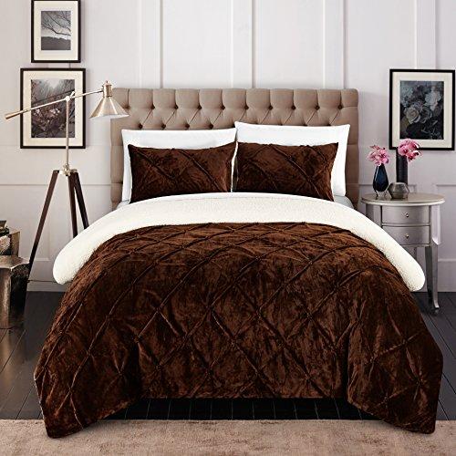 Chic Home cs5126-an 3Josepha teilig Josepha Pinch Plissee Rüschen & Pin Tuck Sherpa Gefüttert Queen Bett in einem Beutel Tröster Set, braun, Queen (Queen-bett In Einem Beutel)