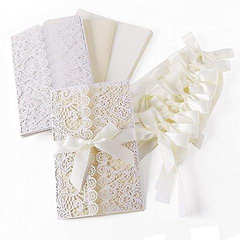 10er Einladungskarten Elegante Blume Spitze Design Set mit Karten, Umschläge, Einlegeblätter zum Selbstbedrucken + Schleife Hochzeit Geburtstag Taufe Party Einladung