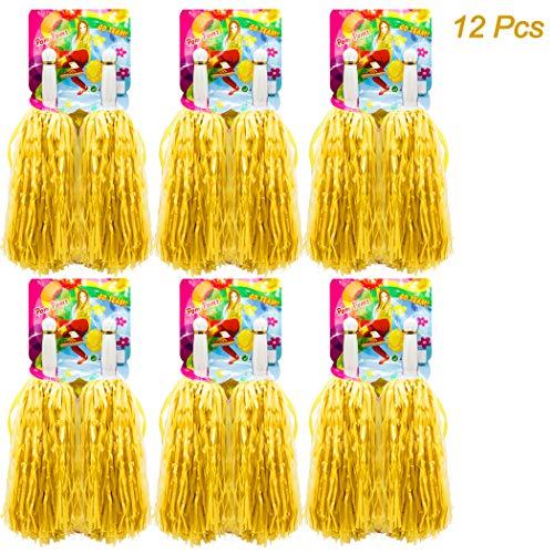 Hatisan-Pro 12er Pack(6x2) Cheerleading Pom Pom, Prämie Gerader Handgriff Cheerleader Pompons, Pompons Cheerleading für Sport Cheers Ball Dance Kostüm Nacht Party (Gelb)