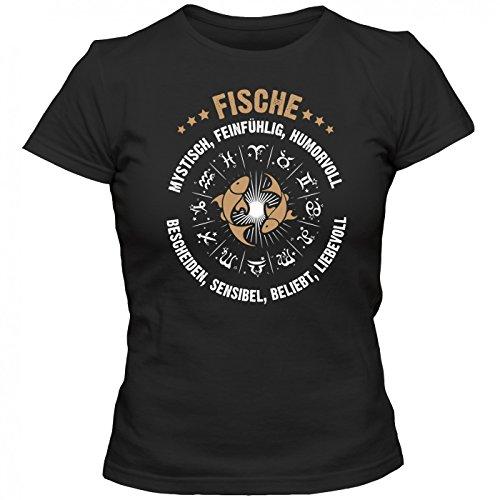 Sternzeichen Fische #2 Premium T-Shirt | AstrologieShirt | Horoskop | Humorvoll & Beliebt | Frauen | Shirt © Shirt Happenz Schwarz (Deep Black L191)