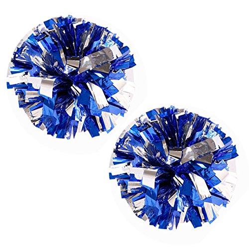 VOBAGA 1 Paar Cheerleader Pom Poms Metallfolie und Kunststoff silber / (Und Weiße Kostüm Cheerleader Blaue)