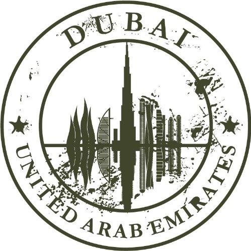 Preisvergleich Produktbild Dubai United Arab Emirates Travel Retro Rubber Stamp Hochwertigen Auto-Autoaufkleber 12 x 12 cm