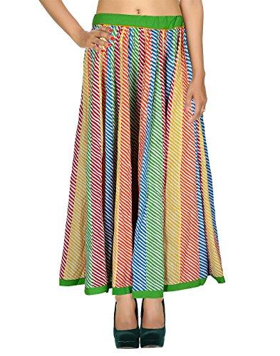 Rajrang Designer Esclusivo Cotton Patch di lavoro a righe Gonna (Vita Alta Designer Jeans)