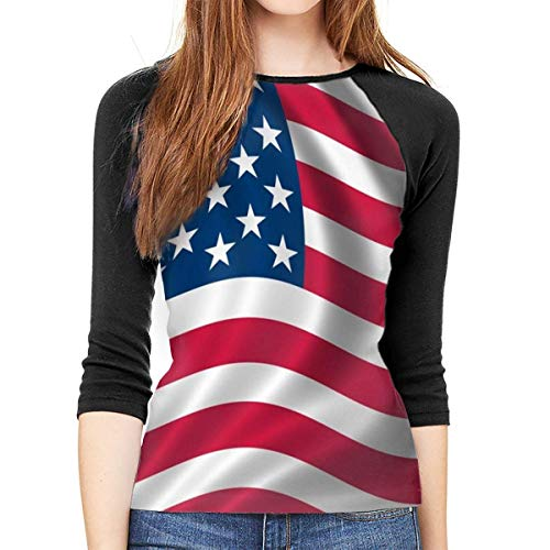 Henrnt Damen Bluse 3/4 Arm T-Shirt Bluse Top Flag in The Wind Print T-Shirt Casual Crew Neck Tops Tee