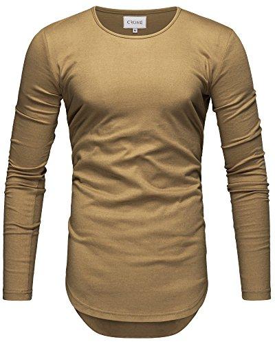 Crone Herren Langarm Shirt Longsleeve Slim Fit T-Shirt Leicht Oversize Basic Sweatshirt in Vielen Farben (L, Sand)