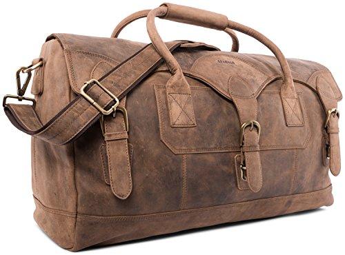 LEABAGS Elche Reisetasche aus echtem Büffel-Leder im Vintage Look - Fallow Fallow