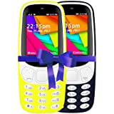 I KALL 2.4 Inch Display Dual Sim Mobile Combo With Feature Of Wireless FM, Bluetooth, GPRS, 1800 Mah Battery Capacity - K35 (Yellow & Dark Blue)