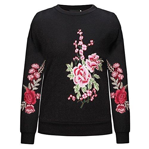 ESHOO Sweatshirt Femme Broderie Chic Manche Longue Col Rond Pull Tops Automne Noir
