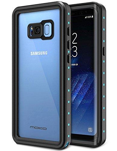 MoKo Samsung Galaxy S8 Plus Case, wasserdichtes Gehäuse mit eingebautem Displayschutzfolie Ultra schützendem Stoßdämpfender Stoßdämpfer Staubdichter e für Galaxy S8 + , Schwarz und Blau