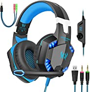 Gaming Headset with Mic for PC,PS4,Xbox One,Over-Ear Headphones with Volume Control LED Light Cool Style Stere