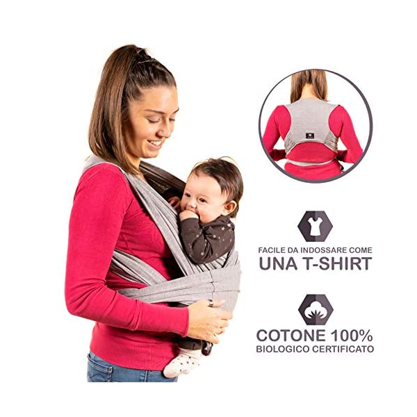 New 2020 - Kalpas - Baby Carrier Easy to Wear Bright Grey (RAL 7035) Kalpas ✅ THE EASIEST TO WEAR: Thanks to the two adjustable straps, the baby headband will be very easy. In addition, the bands are much shorter than the traditional headband, they will not crawl on the ground while being worn and always stay clean. ✅ COMFORTABLE FOR YOUR BACK: The ergonomic and breathable backrest of the Kalpas waist pack allows you to discharge the weight on the shoulders and lumbar area ensuring much higher comfort than that of traditional straps. ✅ GREAT FOR LONG USE: Traditional bands loosen during use and therefore require frequent binding. The Kalpas band will stay in place thanks to the ring clasp. In addition, any adjustments will be very easy. Material: 95% Cotton, 5% Spandex (one way only) 1