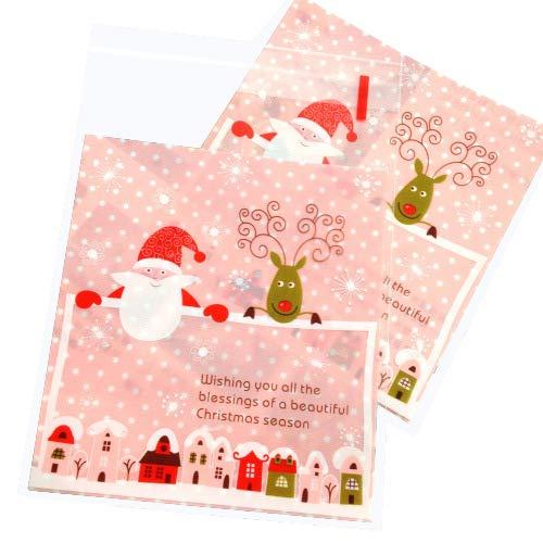 eihnachten Süßigkeiten Tüten Plätzchen Bonbons Tüten Transparent Flachbeutel Gebäck Geschenk Verpackung ()
