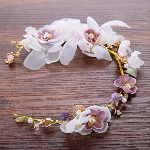 KERVINFENDRIYUN YY4 Braut handgefertigt Blumen Kopfschmuck Perlen rosa Krepp Hochzeit Kleid Zubehör Haarband Brautschmuck (Farbe : Lila) -