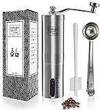 Mokkalov Premium Hand-Kaffeemühle mit 2 genialen Features & Video Kurs + Tolle Kaffee Rezepte I Manuelle Espresso-Mühle mit Keramik-Mahlwerk inkl. Zubehör & Anleitung ☕ + Verpackung