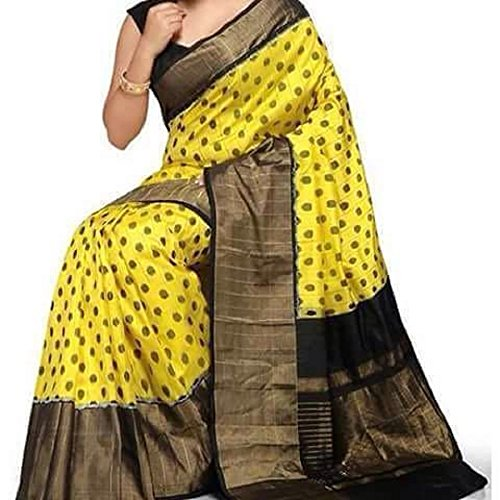 Fashion Flowerz Yellow Jute Silk Sarees With Blouse For Women Multicolored