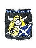 Schottische Aggressive Bull mit Andreaskreuz Flagge Schild bestickt zum Aufbügeln Abzeichen - Souvenir Hergestellt in Schottland