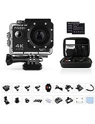 Action Cam Sports Kamera Camera 4K Helmkamera FREDI Wasserdichte HD 16MP 170 ° Weitwinkel mit Zubehör Kits für Tauchen Motorrad Schwimmen Mit 2 verbesserten Batterien.
