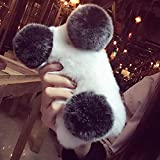 LAPOPNUT Coque pour iPhone 5 5S Se, Mignon Panda Ours Coque Luxe Hiver Doux Chaud...